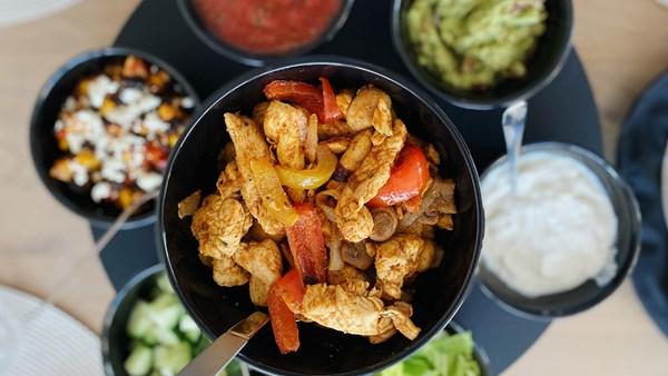 Tacos med smak av kycklingfajitas